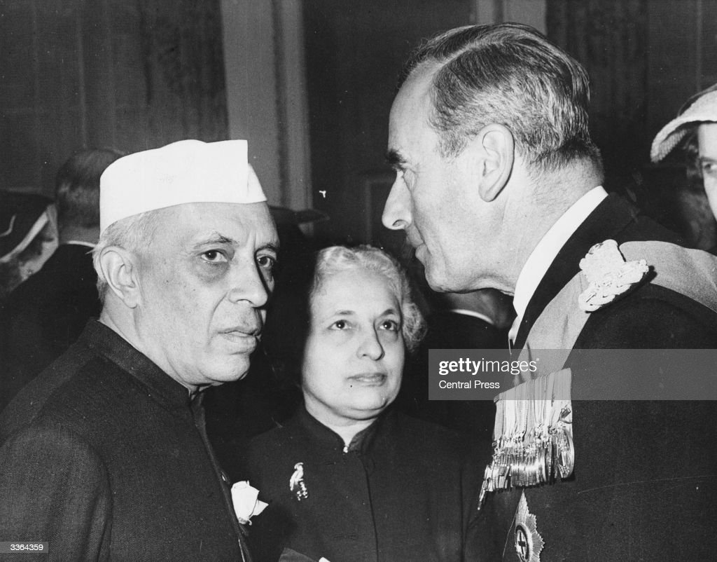 Jawaharlal Nehru, Prime Minister of India and Lord Louis Mountbatten, the last Viceroy of India, during one of Nehru's visits to England.