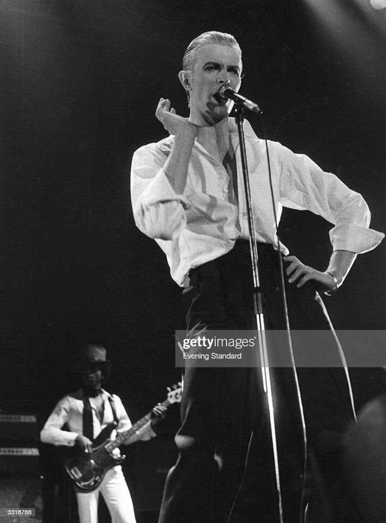David Bowie performing live at Wembley stadium during his 'Station To Station' tour