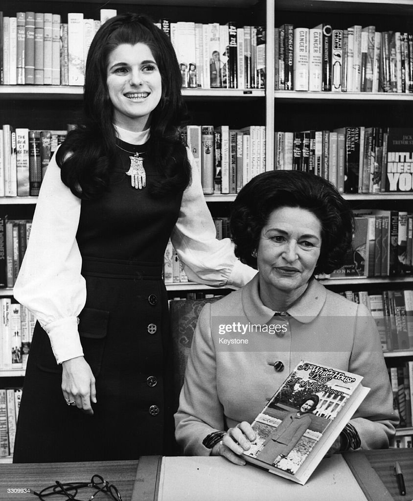 Lady Bird Johnson, the former First Lady of America and wife of President Lyndon Baines Johnson with her daughter Mrs Luci Nugent and her book 'A White House Diary' .