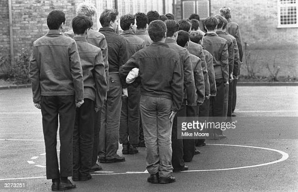 Inmates on parade at the Junior Detention Centre at Send near Woking