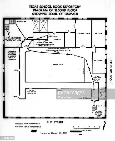 27th September 1964 Washington USA JFK Assassination A diagram showing Lee Harvey Oswalds route after the assassination of US President John F...