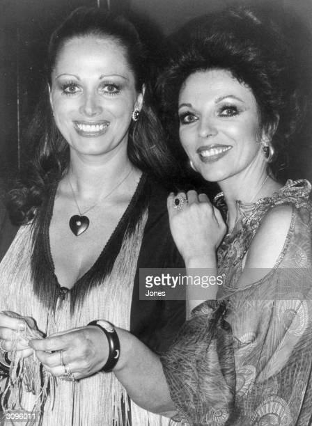 British actress Joan Collins and writer Jackie Collins at a party celebrating the release of 'The Stud' a film based on a novel by her sister
