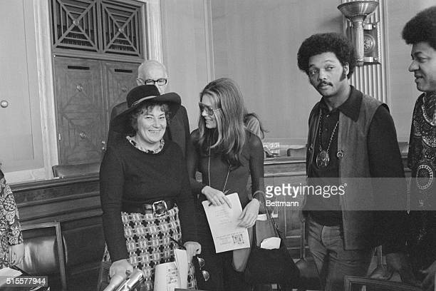 Left to Right Rep Bella Abzug and Gloria Steinem at the press conference at which they announced the Children's March for Survival set for Mar 25 in...