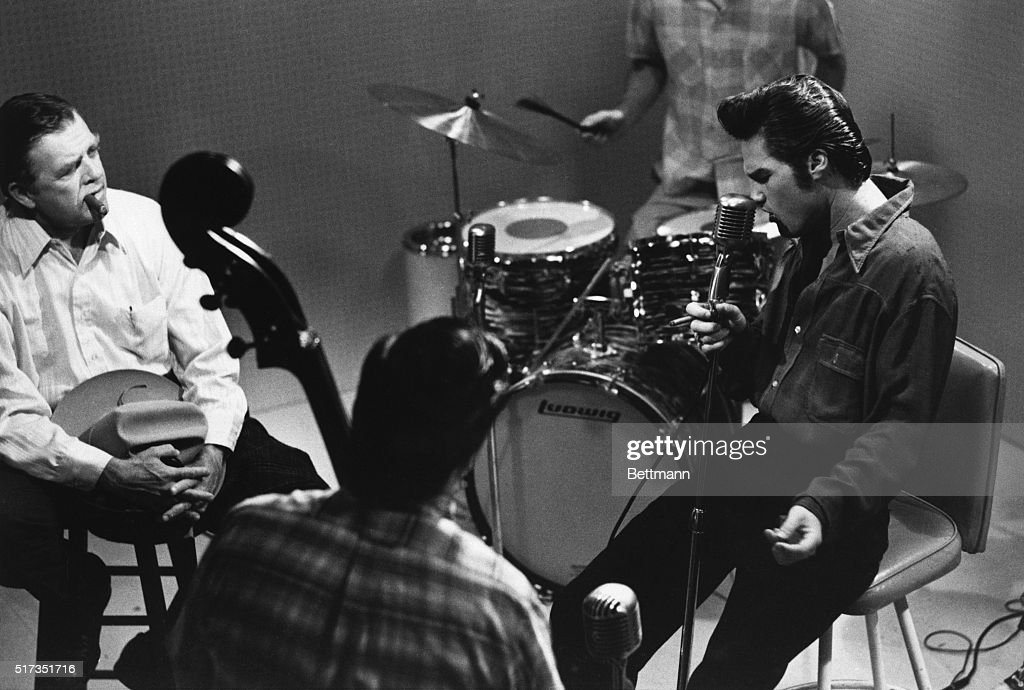 2/8/1979Hollywood CA Scene from the television movie 'Elvis' Pat Hingle costars as Colonel Tom Parker Elvis Presley's manager listening as Elvis...