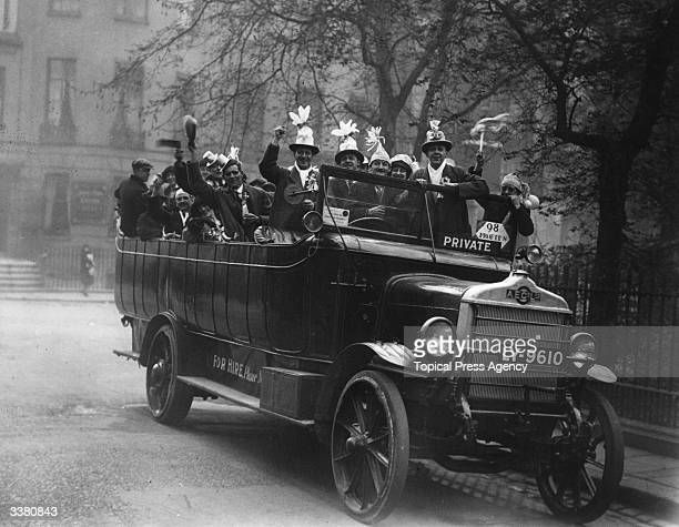 A private bus load of football fans on their way to the newly completed stadium at Wembley for the FA Cup final between West Ham United and Bolton...