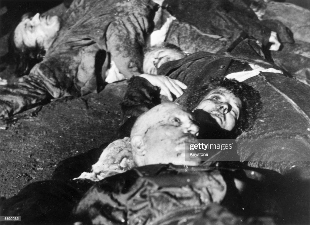 Benito Mussolini (1883 - 1945) the Italian dictator lies dead in Milan's Piazza Loroto with his mistress Claratta Petacci.