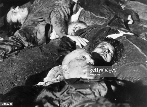 Benito Mussolini the Italian dictator lies dead in Milan's Piazza Loroto with his mistress Claratta Petacci
