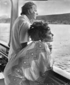 Actor Richard Burton with his wife actress Elizabeth Taylor relaxing on their yacht 'Kalizma' off the coast of Capo Caccia in Sardinia during the...