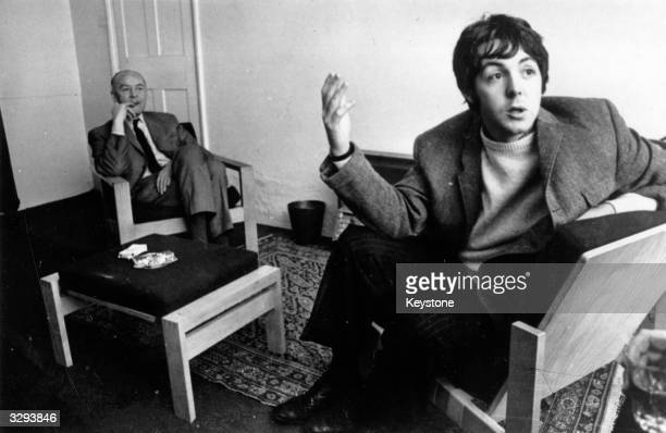Pop singer songwriter Beatle Paul McCartney and his father at home