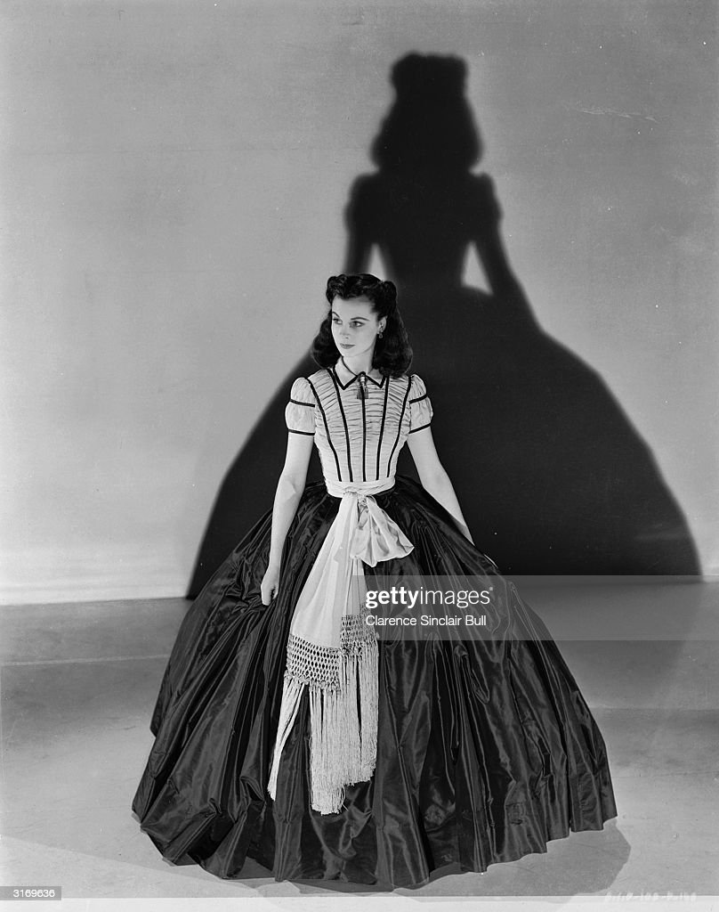 Vivien Leigh in one of the dresses she wore in her role as Scarlett O'Hara in the film 'Gone With The Wind' directed by Victor Fleming