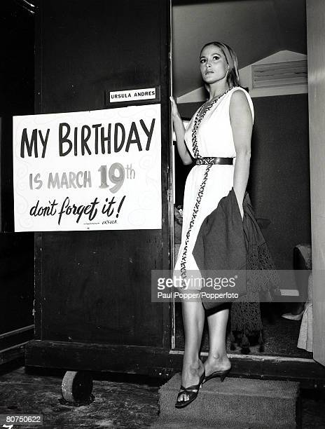 28th February 1963 Actress Ursula Andress born 1936 in Switzerland pictured with a reminder of the date of her birthday Ursula Andress first came to...