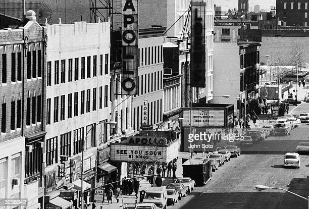 Highangle view of the Apollo Theater and its marquee on 125th Street in Harlem New York City
