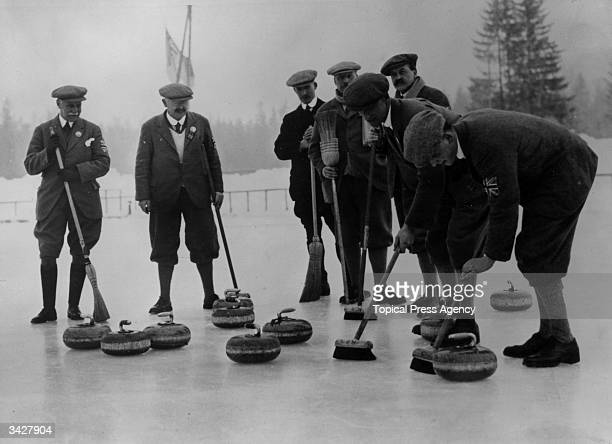 The British Curling team during the Winter Olympics at Chamonix France