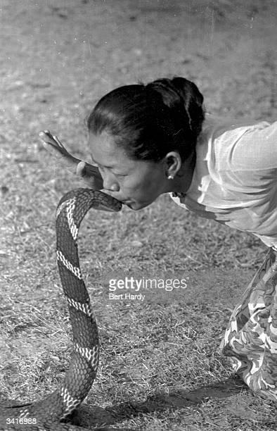 A snake charmer kissing a cobra at Rangoon Original Publication Picture Post 4748 Snake Charmer pub 1950