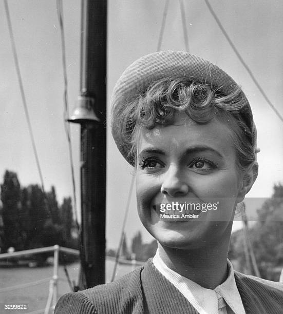 Pauline Stroud on board the yacht used in the film 'Lady Godiva Rides Again' a satirical comedy based on contestants in a beauty contest The film was...