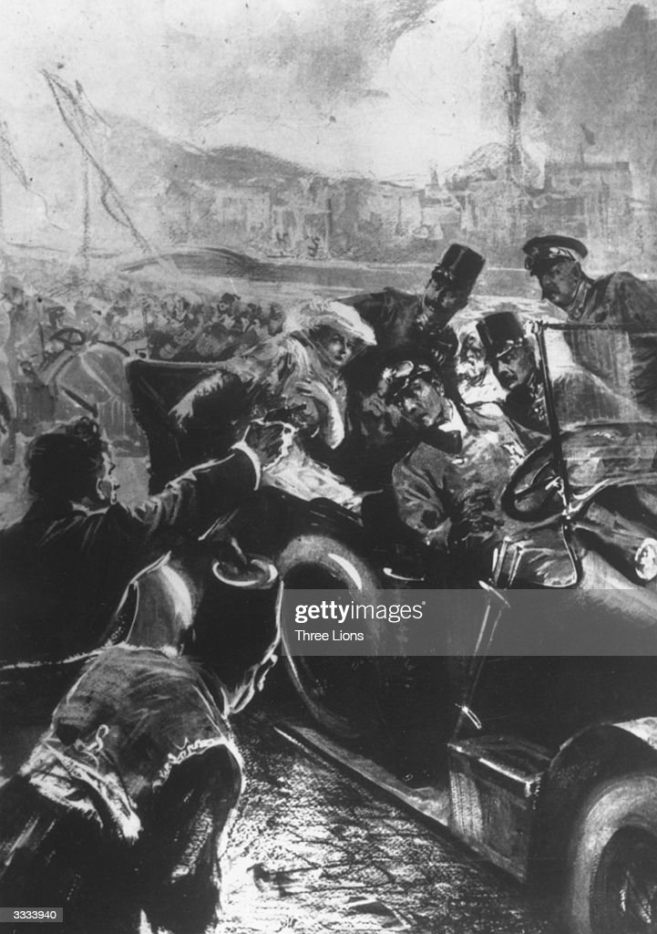 One of the group of Serbian zealots dedicated to achieving independence for the South Slav people from the Austro-Hungarian empire fires at Franz Ferdinand, Archduke of Austria, and his wife Sophie as they are driven through Sarajevo. This is one of the incidents which precipitated World War I.