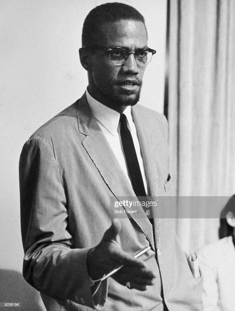 American civil rights leader Malcolm X speaking probably in New York City