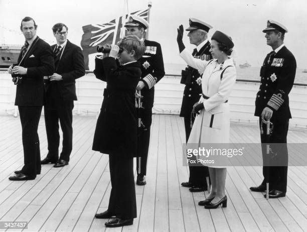 From left to right Prince Michael of Kent Prince Richard of Gloucester Prince Edward Lord Louis Mountbatten Queen Elizabeth II and Prince Philip...