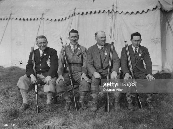 The captains of the teams competing in the International Clay Bird Shooting Championships at Ealing London Dr P S Keogh Mr C Lucas Mr W McBean and Mr...