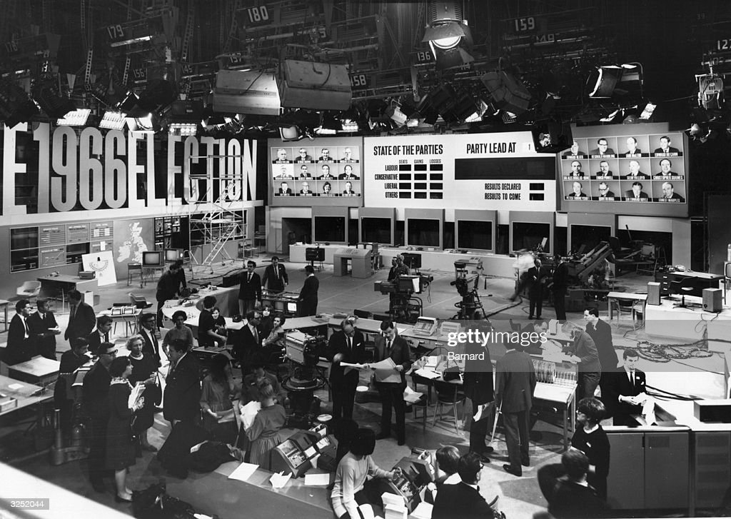 BBC studio Number 1 at the Television Centre, London, during the final preparations for coverage of the 1966 General Election. Commentators <a gi-track='captionPersonalityLinkClicked' href=/galleries/search?phrase=Cliff+Michelmore&family=editorial&specificpeople=927048 ng-click='$event.stopPropagation()'>Cliff Michelmore</a> and Ian Trethowan are in the centre.