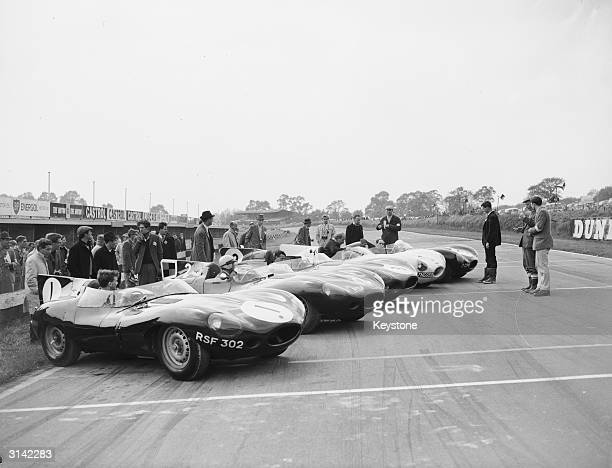 A row of five DType Jaguars the team which won the Le Mans Grand Prix five years running on show before being replaced by the new EType model