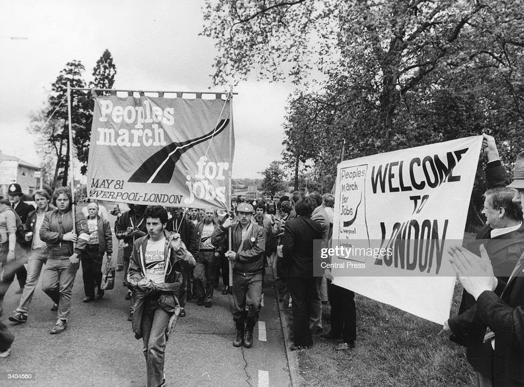 The Greater London Council puts up welcome banners as the People's March for Jobs reaches London after 28 days walk from Liverpool.