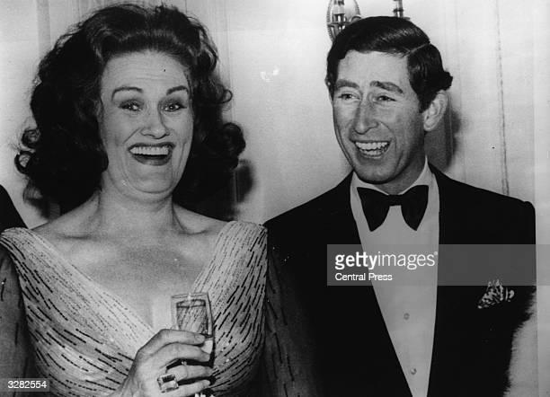Charles Prince of Wales with Australian soprano Dame Joan Sutherland at the Australian Musical Foundation's Inagural Gala Concert at the Royal Opera...