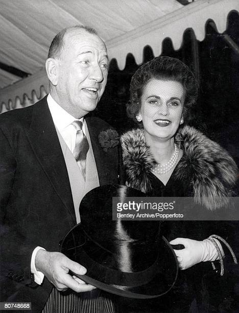 28th October 1960 Noel Coward English dramatist actor and composer is shown escorting the Duchess of Argyll at the marriage of Daphne Fairbanks...