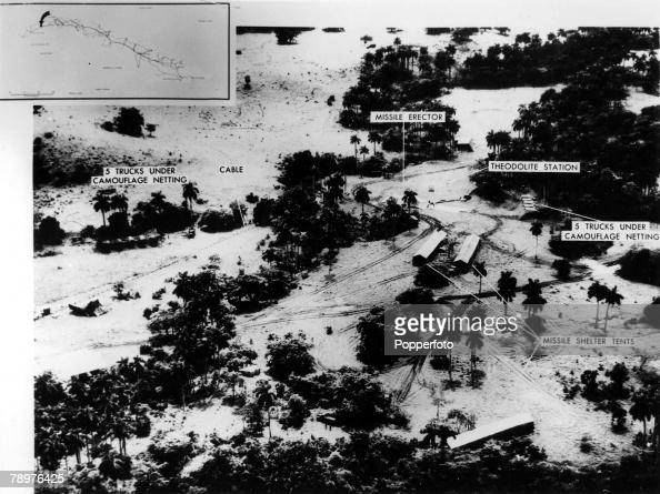 28th October 1962 Cuba The Cuban Missile Crisis A satellite reconnaisance photograph released by the Pentagon showing a mediumrange ballistic missile...