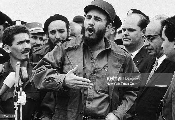 Cuban president Fidel Castro speaks to reporters after attending the UN General Assembly meeting New York City