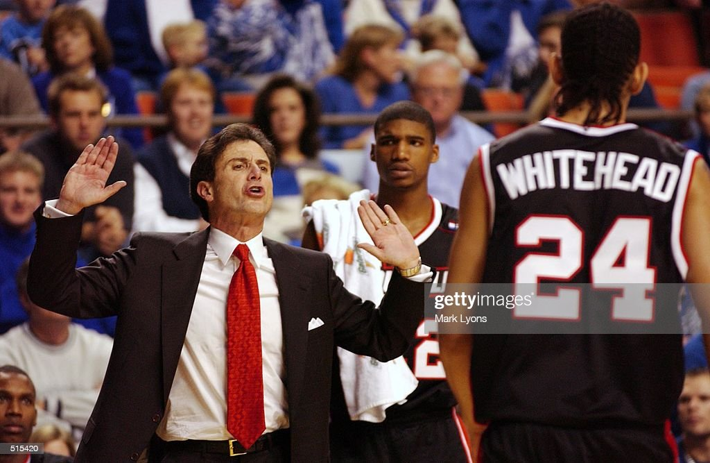 --University of louisville coach Rick Pitino talks to his player Luke Whithead #24 as he come out of the game against the Univeristy of Kentucky at Rupp Arena. Pitino's Cardinals lost to his former team 82-62. Digital image. Mandatory Credit: Mark Lyons/ Getty Images