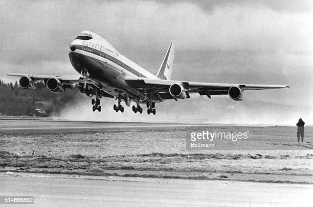 2/9/69Everett Washington The world's largest commercial jetliner the Boeing 747 makes its first takeoff 2/9 The 231 ft jet used abut 4500 feet of...