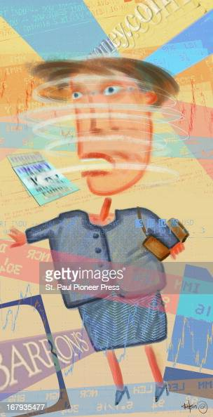 29p x 57p Kirk Lyttle color illustration of businesswoman with a spinning head surrounded by an abundance of financial data