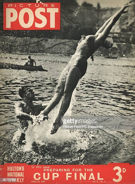 A young man throws his lady friend high into the air during a cool outdoor swim The headline beneath reads 'Preparing for the Cup Final' Original...