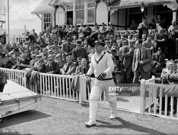 Australian cricketer Don Bradman walks out to bat against Worcestershire Sir Donald Bradman was the first cricketer to be knighted in 1949 for his...