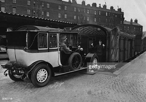 The car sleeper service to Scotland from King's Cross station London transporting its oldest customer a 1911 Renault car owned by Mr Victor Bridges
