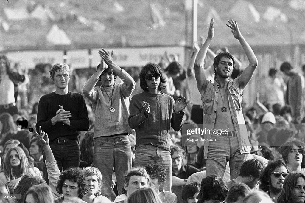 Crowds at East Afton Farm near Freshwater during the Isle of Wight pop festival The five day long event is organised by Fiery Creations