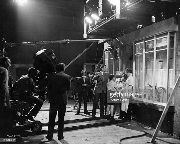The cast and crew of 'The Secret People' shooting a cafe scene at Ealing studios London Original Publication Picture Post 5636 The Ealing Studios...