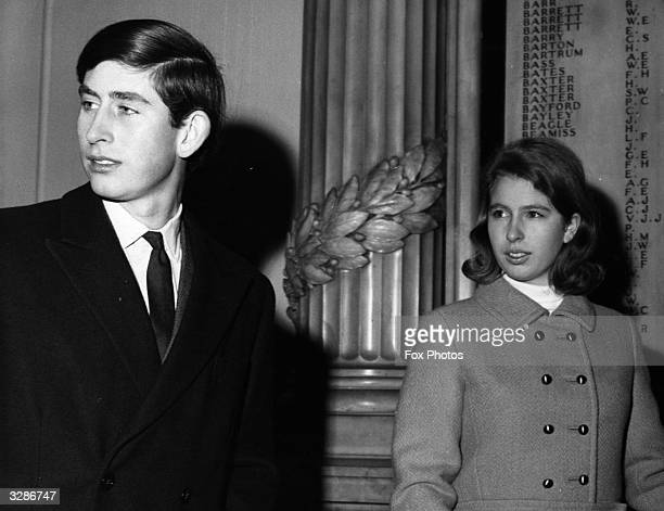 Charles Prince of Wales with Princess Anne at Liverpool Street Station London en route to Sandringham House for their summer vacation holidays
