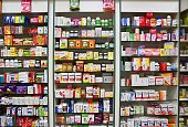 29th December 2017 Brno - Czech Republic. Background in pharmacy. Goods in the shelf. Medicines and vitamins for health and healthy lifestyle. Concept for business and sales