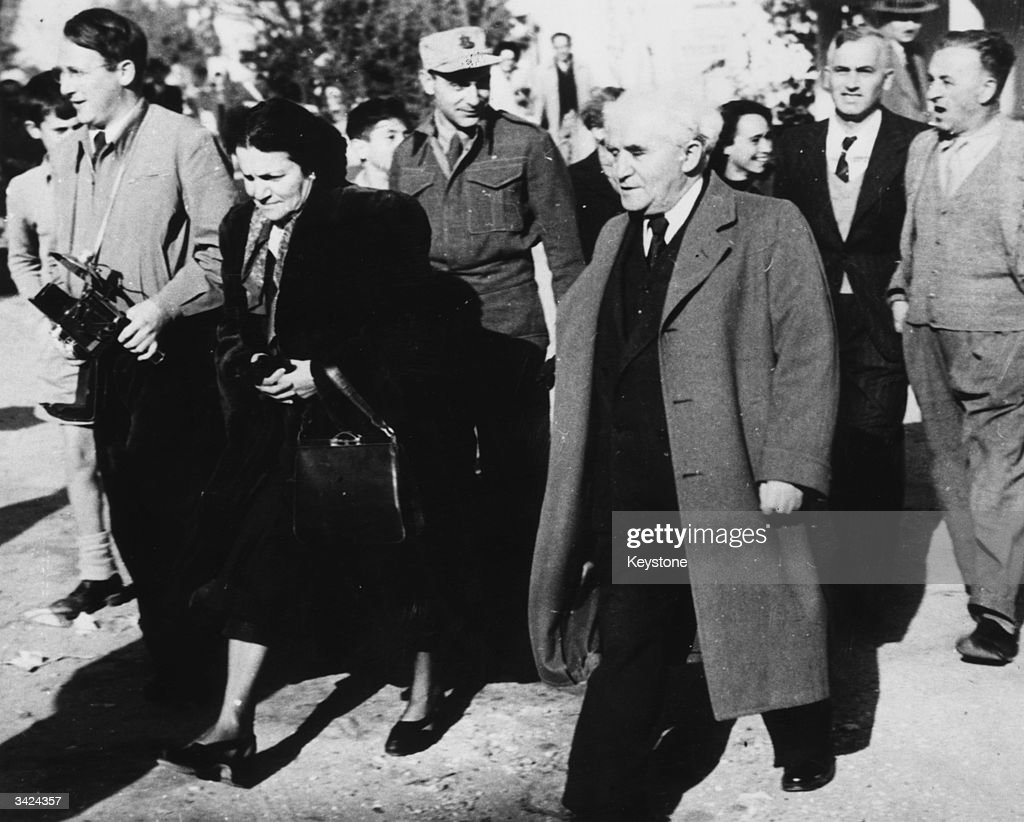Israeli prime minister David BenGurion and his wife going to the polls in the first general election for a National Assembly