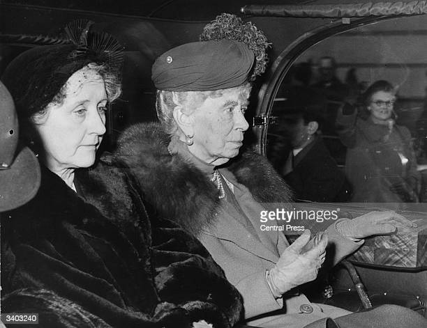 King's Consort Queen Mary arriving at Marlborough House by car after her holidays at Sandringham