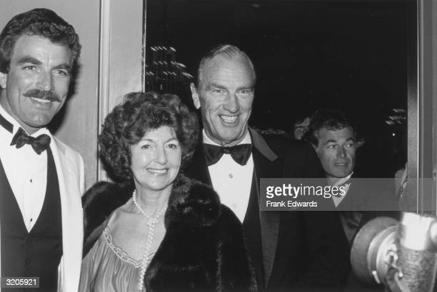 American actor Tom Selleck smiles with his parents while attending the 40th Annual Golden Globe Awards at the Beverly Hills Hotel Beverly Hills...