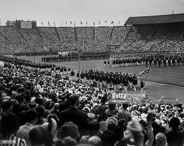 The British team enters Wembley Stadium London during the opening ceremony of the Olympic Games