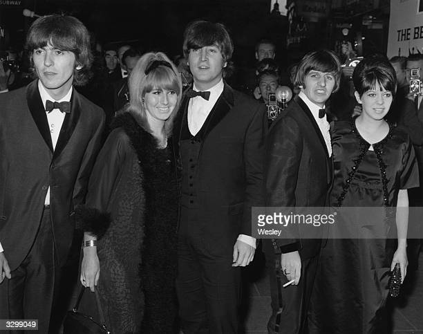 Members of the pop group The Beatles George Harrison John Lennon and his wife Cynthia and Ringo Starr and his wife Maureen arrive at the premiere of...