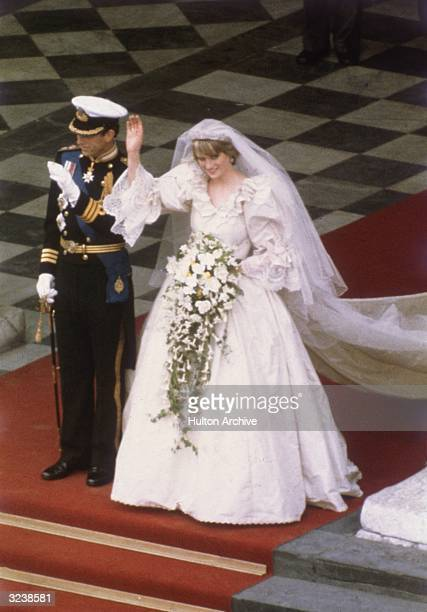 Charles Prince of Wales with his wife Princess Diana on the altar of St Paul's Cathedral during their marriage ceremony