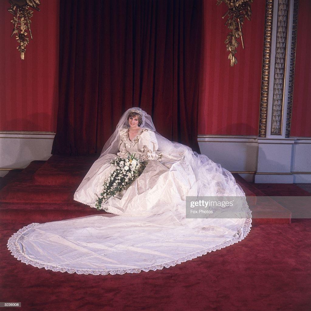 Formal portrait of Lady Diana Spencer (1961 - 1997) in her wedding dress designed by David and Elizabeth Emanuel.