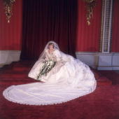 Formal portrait of Lady Diana Spencer in her wedding dress designed by David and Elizabeth Emanuel