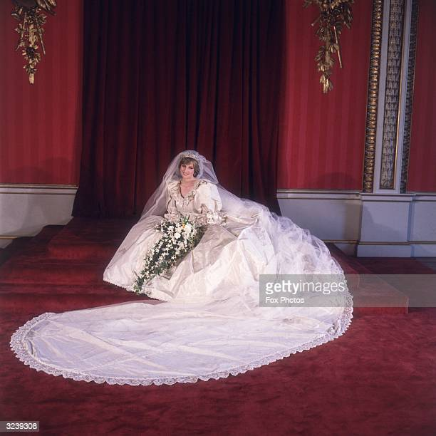 Formal portrait of Lady Diana Spencer in her wedding dress designed by David and Elizabeth Emanuel