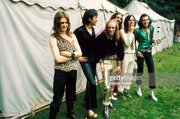 Roxy Music posed backstage at the Crystal Palace Garden Party in Crystal Palace park London on 29th July 1972 LR Paul Thompson Bryan Ferry Brian Eno...